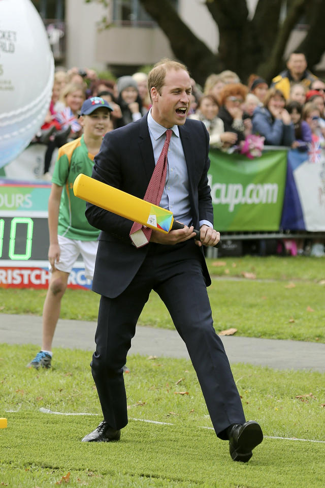 Britain's Prince William plays cricket in Latimer Square in Christchurch, New Zealand, Monday, April 14, 2014. William and his wife Kate, the Duchess of Cambridge, are on a three-week tour of New Zealand and Australia with their son, Prince George. (AP Photo/Martin Hunter, Pool)