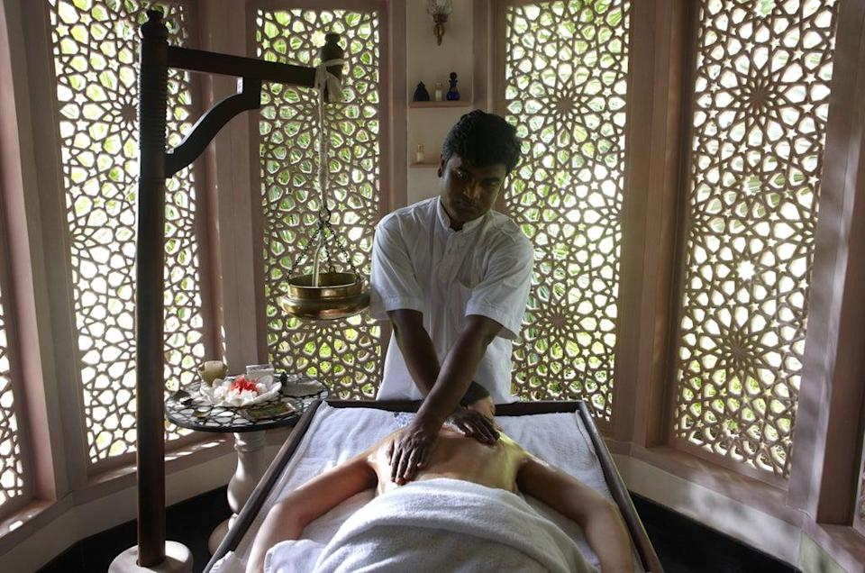 An Ayurvedic massage taking place at the wellness centre at BodyHoliday, St Lucia (BodyHoliday/PA)