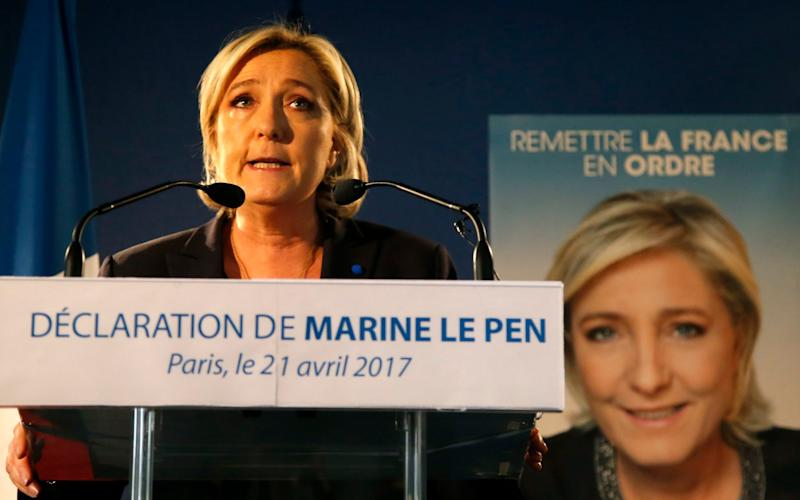 Far-right leader and candidate for the presidential election Marine Le Pen speaks in Paris - Credit: AP Photo/Michel Euler