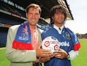 Chelsea manager Glenn Hoddle with his new signing, Dutch international Ruud Gullit at Chelsea's Stamford Bridge ground. Friday June 23 1995. Gullit signed on a free transfer from Sampdoria officially starting on July 1st. The club also signed up Manchester United's Mark Hughes for 1.5 million pounds (US$2.4 million). (AP Photo/Tony Harris/PA)