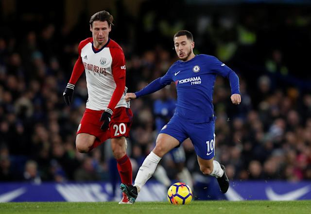"Soccer Football - Premier League - Chelsea vs West Bromwich Albion - Stamford Bridge, London, Britain - February 12, 2018 Chelsea's Eden Hazard in action with West Bromwich Albion's Grzegorz Krychowiak REUTERS/Eddie Keogh EDITORIAL USE ONLY. No use with unauthorized audio, video, data, fixture lists, club/league logos or ""live"" services. Online in-match use limited to 75 images, no video emulation. No use in betting, games or single club/league/player publications. Please contact your account representative for further details."