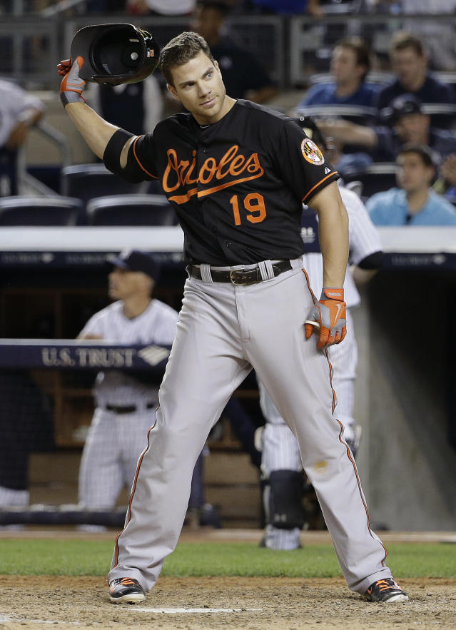 Baltimore Orioles' Chris Davis tosses his helmet after striking out to end the top of the ninth inning of a baseball game against the New York Yankees, Friday, June 20, 2014, in New York. The Yankees won 5-3. (AP Photo/Julie Jacobson)