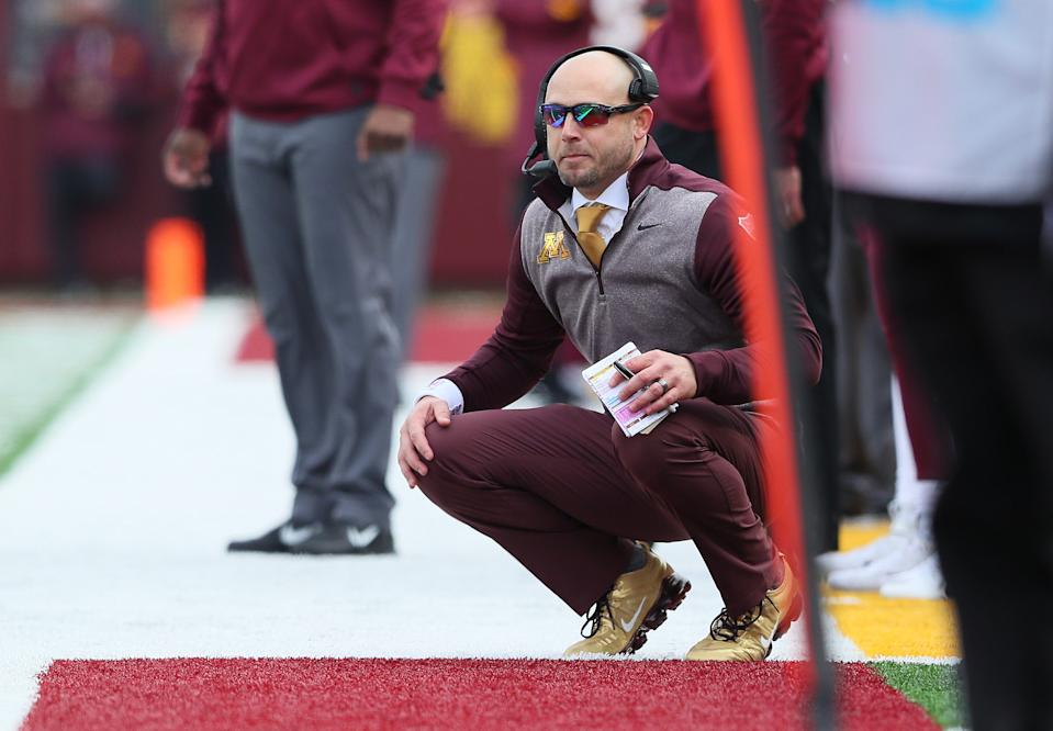 MINNEAPOLIS, MN - NOVEMBER 09: Head coach P.J. Fleck of the Minnesota Golden Gophers in the second quarter against the Penn State Nittany Lions at TCFBank Stadium on November 9, 2019 in Minneapolis, Minnesota. (Photo by Adam Bettcher/Getty Images)