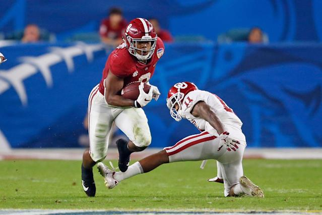 Josh Jacobs projects as a do-it-all running back after a strong showing at Alabama. (Getty Images)