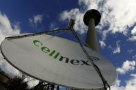"""FILE PHOTO: A telecom antenna of Spain's telecoms infrastructures firm Cellnex are seen under main telecom tower, known as """"Piruli"""", in Madrid"""
