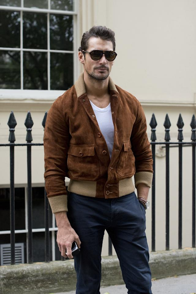 <p>A jacket in the textured hide will make you look as sharp as David Gandy does here. To be clear, that doesn't mean it will turn you into an iconic male model. But a suede jacket <em>will</em> make any outfit, even a white tee and some basic trousers, look more put together has before. Suede just looks luxe, no matter what color it comes in (and this season, it comes in a lot of solid neutral hues) and no matter what price you're paying for it. Like any menswear investment, you can go for the bank-account-draining best or the more manageable mass market version, but no matter which suede jacket you pick up, it's guaranteed to make you look your best this time of year.</p>