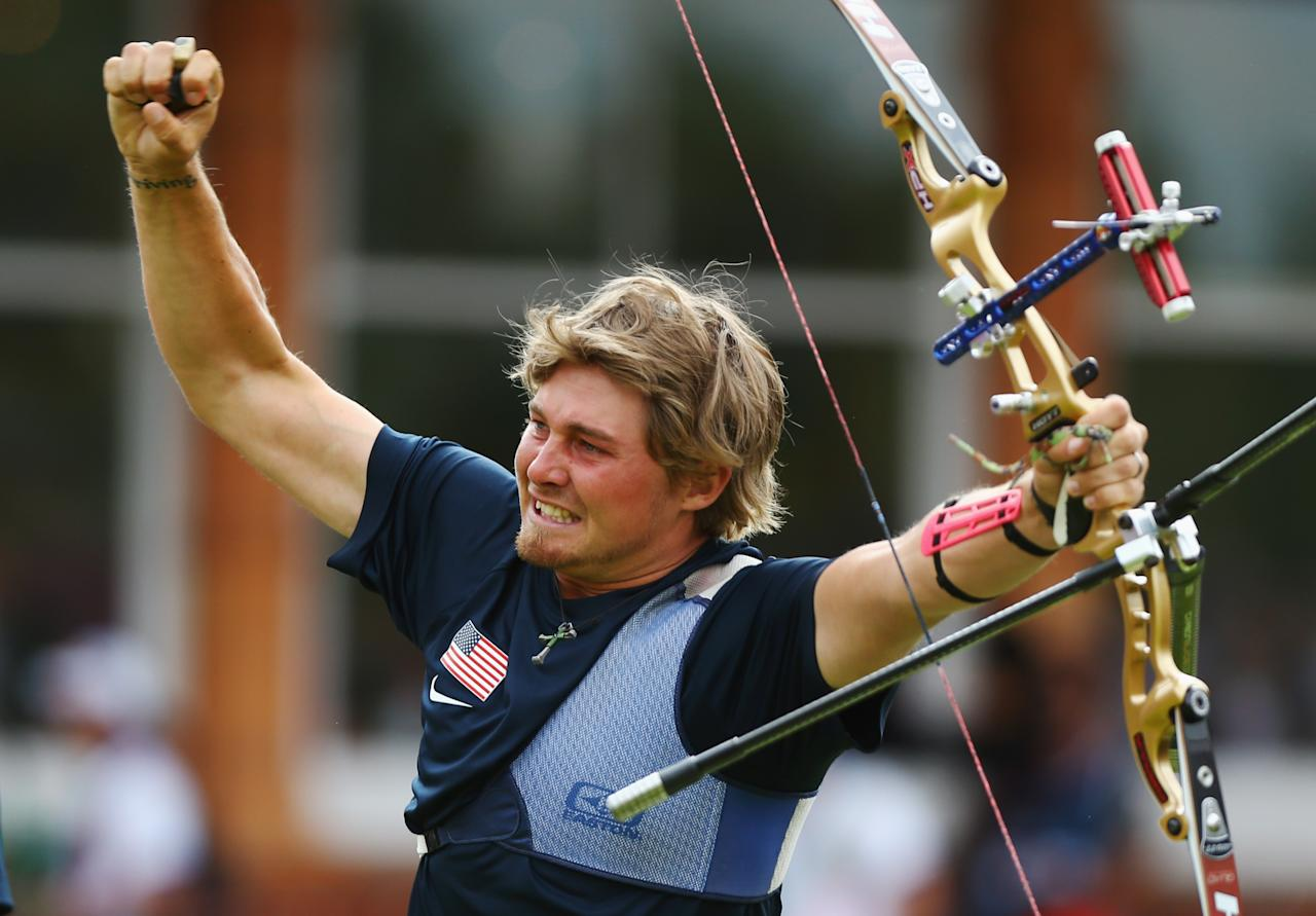 LONDON, ENGLAND - JULY 28:  Brady Ellison of the United States celebrates victory in the Men's Team Archery semi final on Day 1 of the London 2012 Olympic Games at Lord's Cricket Ground on July 28, 2012 in London, England.  (Photo by Paul Gilham/Getty Images)