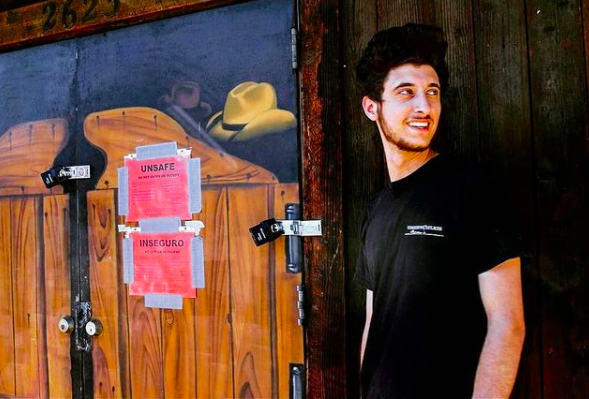 <p>20-year old Lucas Lepejian was taken into custody after he was found removing the sandbags that the authorities had placed around the restaurant. He has been arrested thrice now</p> (Tinhorn Saloon & Grill )