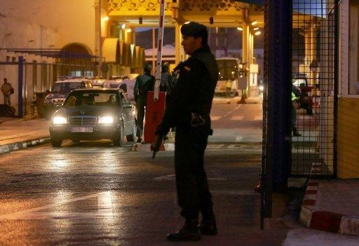 File picture shows a Spanish policeman at the Tarajal border checkpoint, in Ceuta
