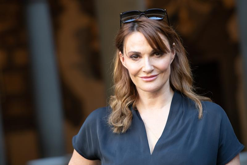 "Sarah Parish attends press Conference for ""The Medici the Magnificent"" in Florence, Palazzo Medici Riccardi, Italy, on 10 October 2018. The Fiction aired on Rai 1 from October 23rd. Present all the cast with: Daniel Sharman, Bradley James, Sarah Parish, Alessandra Mastronardi, Aurora Ruffino, Charlie Vickers, Matteo Martari, Synnove Karlsen, Sebastian DE souza, Sean Bean, Filippo NIgro, Frank Spotnitz, Jon Cassar, Jan Maria Michelini (Photo by Mauro Fagiani/NurPhoto via Getty Images)"
