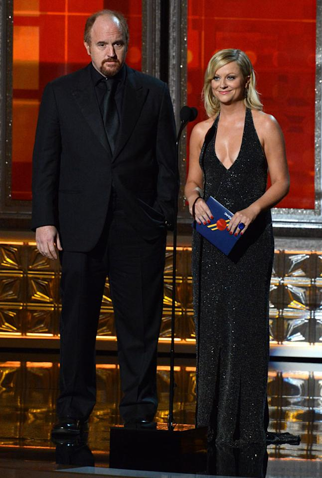 Louis C.K. and Amy Poehler onstage at the 64th Primetime Emmy Awards at the Nokia Theatre in Los Angeles on September 23, 2012.