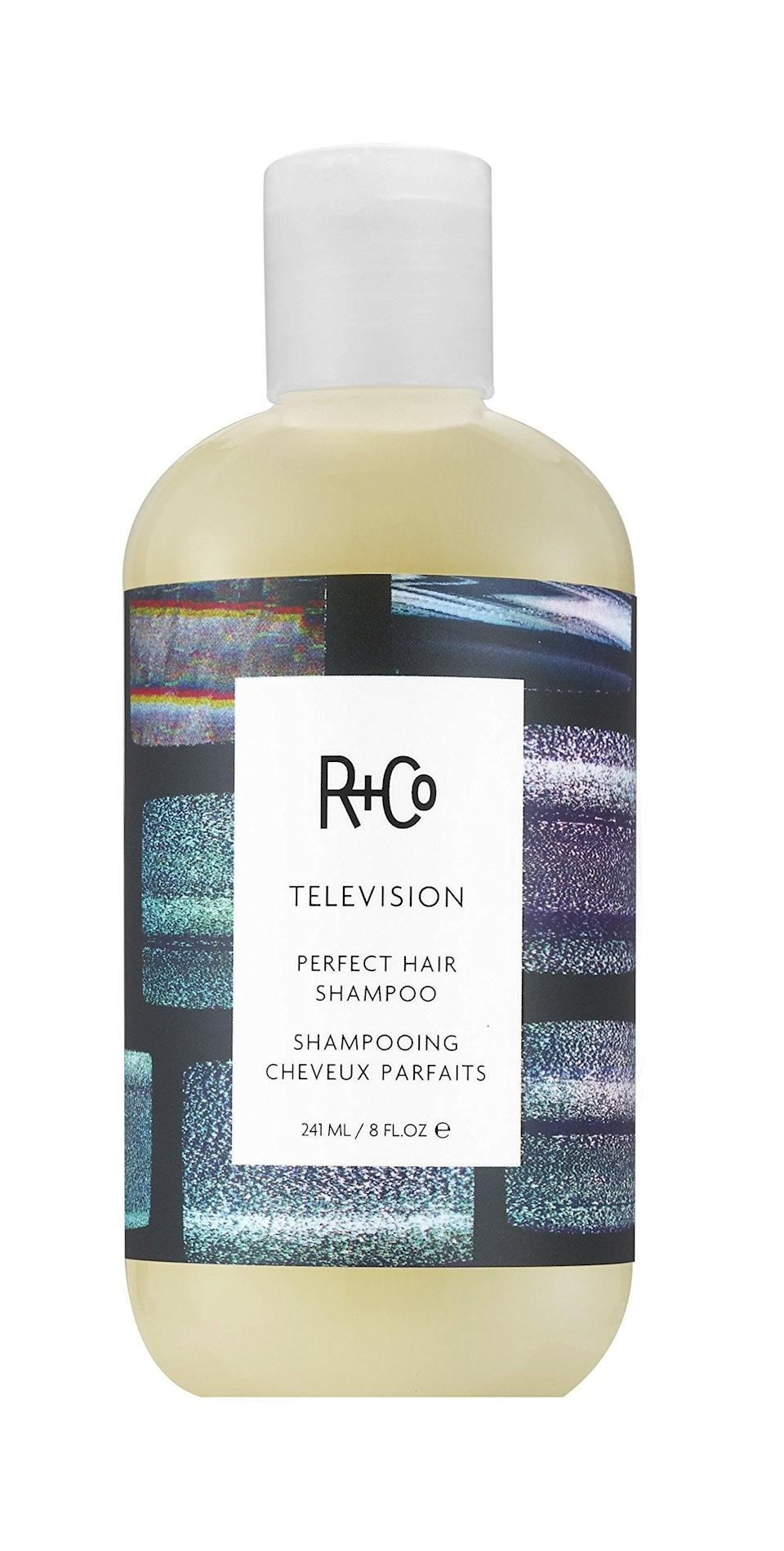 """<h3>R+Co Television Perfect Hair Shampoo</h3><br>Yes — you can find this salon-approved brand R+Co on Amazon! Our beauty editor's pick is the Television shampoo, which leaves your hair looking and feeling Pantene commercial-soft after just one use.<br><br><strong>R+Co</strong> Television Perfect Hair Shampoo, $, available at <a href=""""https://amzn.to/2KdgwKP#locklink"""" rel=""""nofollow noopener"""" target=""""_blank"""" data-ylk=""""slk:Amazon"""" class=""""link rapid-noclick-resp"""">Amazon</a>"""