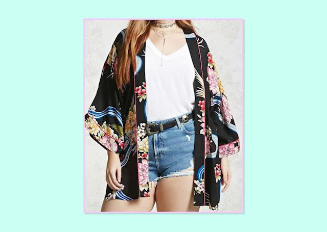"<p>Plus-Size Floral Kimono, $18, <a href=""http://www.forever21.com/Product/Product.aspx?BR=plus&Category=plus_size-outerwear-kimonos-blazers&ProductID=2000322456&VariantID="" rel=""nofollow noopener"" target=""_blank"" data-ylk=""slk:Forever 21"" class=""link rapid-noclick-resp"">Forever 21 </a> </p>"