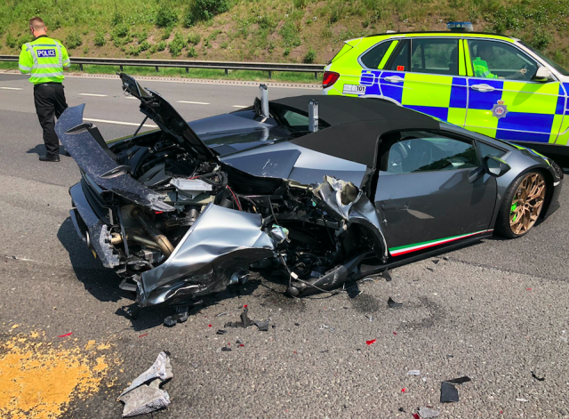 Pictures of the remains of the sports car were posted on social media after the shunt on the M1. (WYP Roads Policing Unit/PA)