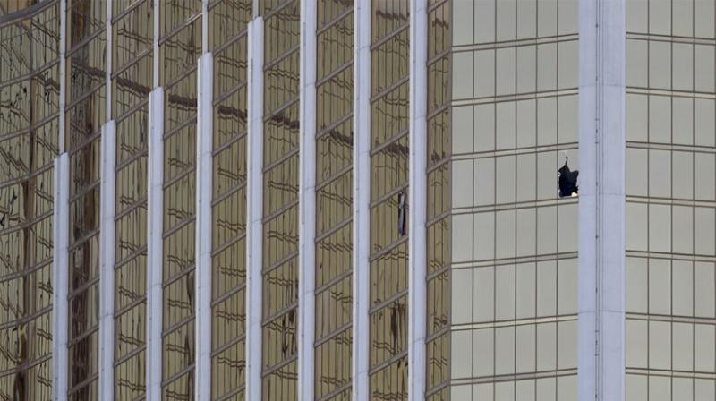 The hotel window where Paddock perched himself. Source: AAP