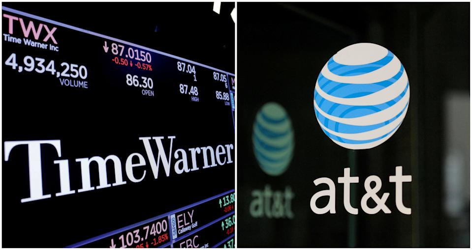 A combination photo shows the Time Warner shares price at the New York Stock Exchange and AT&T logo in New York, NY, U.S., on November 15, 2017 and on October 23, 2016 respectively. REUTERS/Lucas Jackson (L) and REUTERS/Stephanie Keith