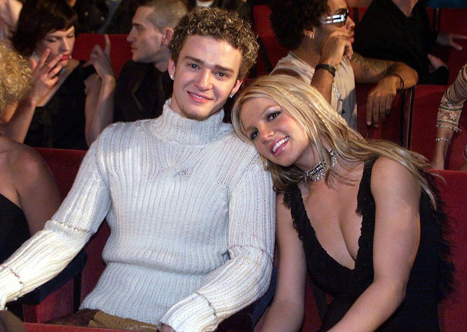 <p>This chunky knit turtleneck was a major menswear moment, and Britney's choker is cute too. </p>