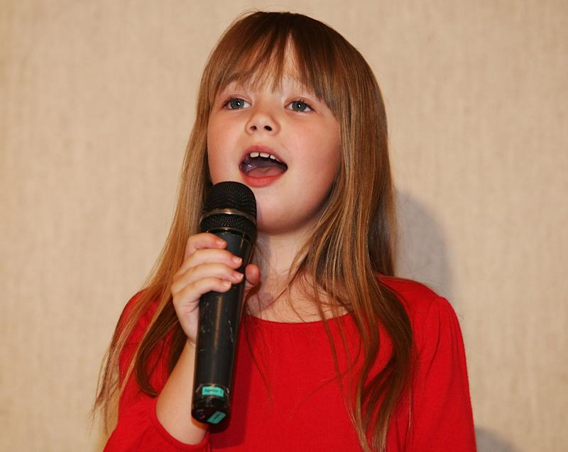 "SEOUL, SOUTH KOREA - APRIL 23: British Singer Connie Talbot from ""Britain's Got Talent"" perform onstage after a press conference at COEX Intercontinental Hotel on April 23, 2008 in Seoul, South Korea.Talbot is in South Korea to promote her new album. (Photo by Han Myung-Gu/WireImage)"