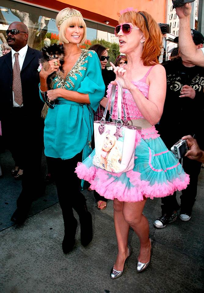 """Paris Hilton and her faux BFF Kathy Griffin caused innumerable fashion crimes (and probably a few car accidents) as they shopped their day away on trendy Robertson Boulevard in Los Angeles. Harris/<a href=""""http://www.x17online.com"""" target=""""new"""">X17 Online</a> - March 25, 2009"""