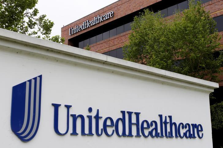 The logo of Down Jones Industrial Average stock market index listed company UnitedHealthcare