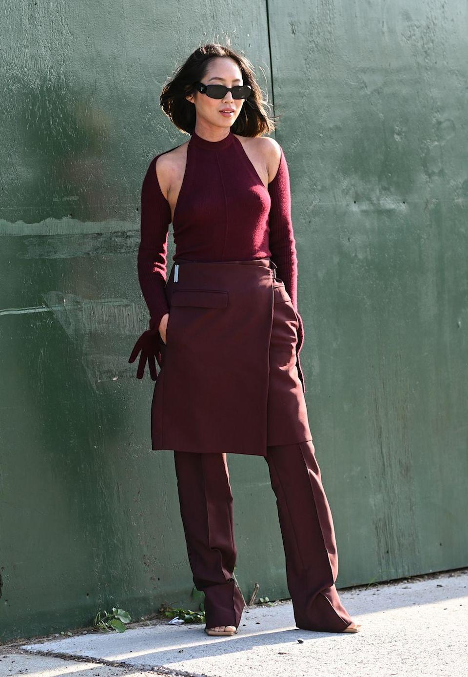 <p>Aimee Song is seen wearing a Peter Do outfit outside the Peter Do show during New York Fashion Week.</p>