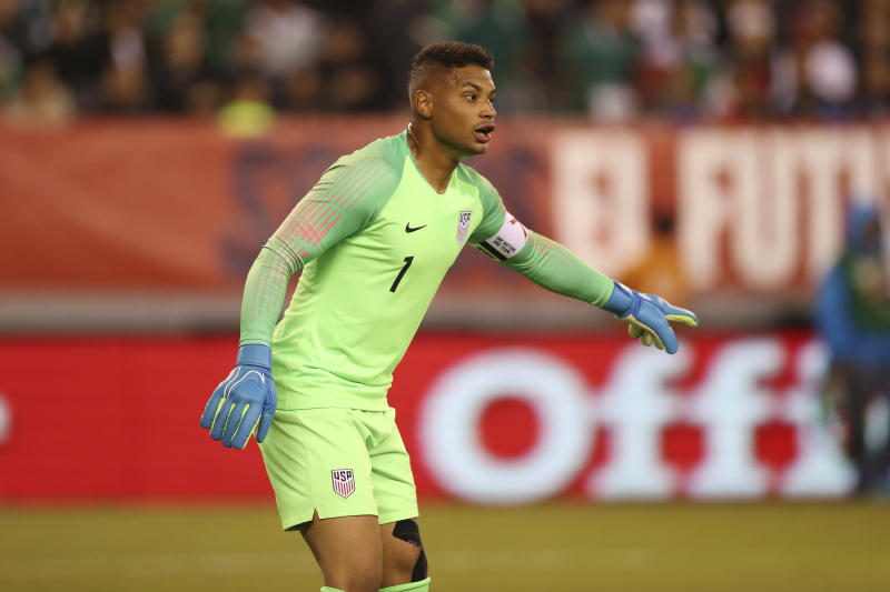 United States goalkeeper Zack Steffen shouts instructions to a teammate during an international friendly soccer match against Mexico, Friday, Sept. 6, 2019, in East Rutherford, N.J. Mexico won 3-0. (AP Photo/Steve Luciano)