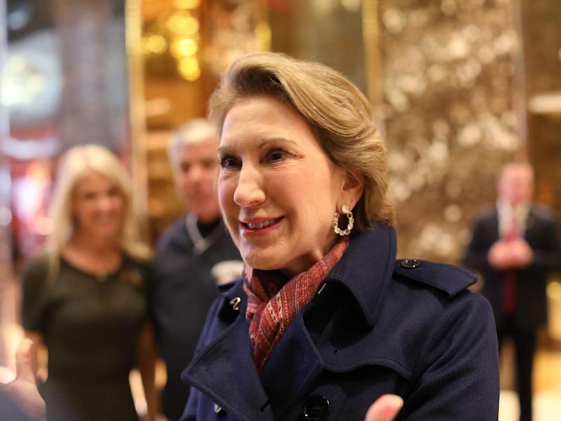 Former Republican presidential candidate Carly Fiorina speaks to the media after a meeting at Trump Tower on 12 December, 2016: (Getty Images)