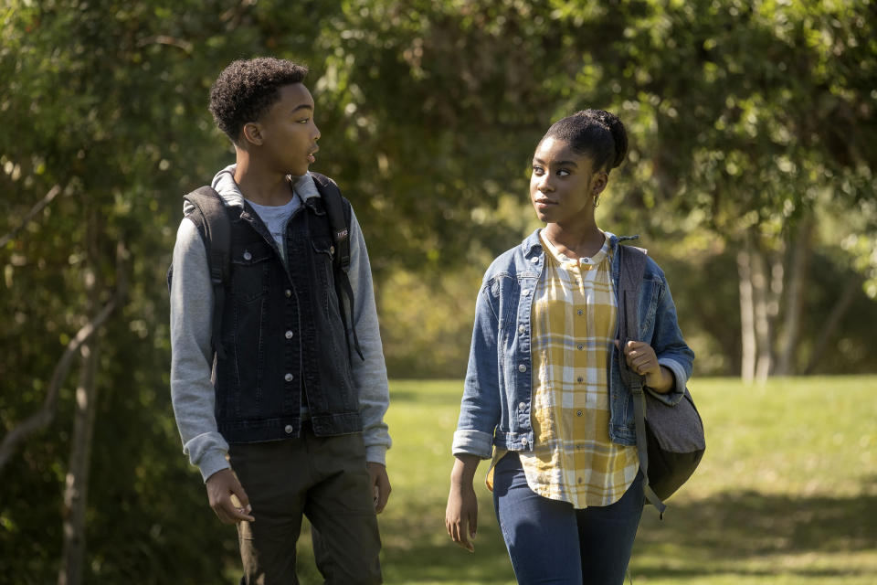 "This image released by NBC shows Asante Blackk as Malik, left, and Lyric Ross as Deja, in a scene from ""This Is Us,"" airing on Tuesday at 9 p.m. EST. (Ron Batzdorff/NBC via AP)"
