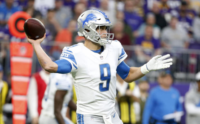 Lions quarterback Matthew Stafford throws a pass during the first half against the Minnesota Vikings on Sunday. (AP)