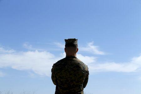 A U.S. Marine looks at the sky in California February 26, 2016. REUTERS/Mike Blake