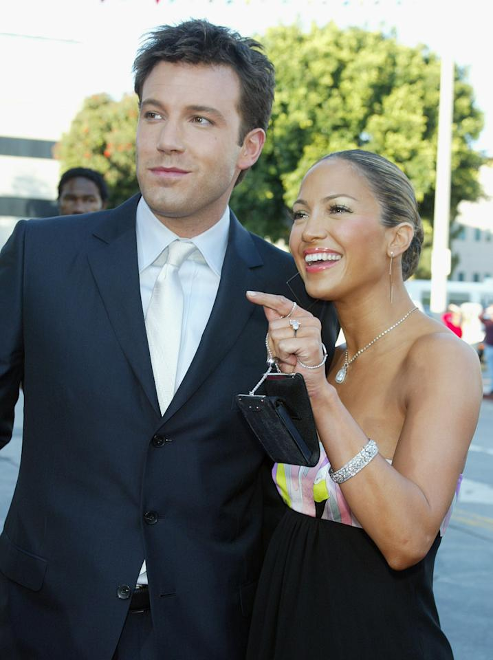 "Jennifer Lopez's pink diamond engagement from ex Ben Affleck. Pictured: Actor Ben Affleck (L) and his fiance actress/singer Jennifer Lopez arrive at the premiere of ""Daredevil"" at the Village Theatre on February 9, 2003 in Los Angeles, California. (Photo by Kevin Winter/Getty Images)"
