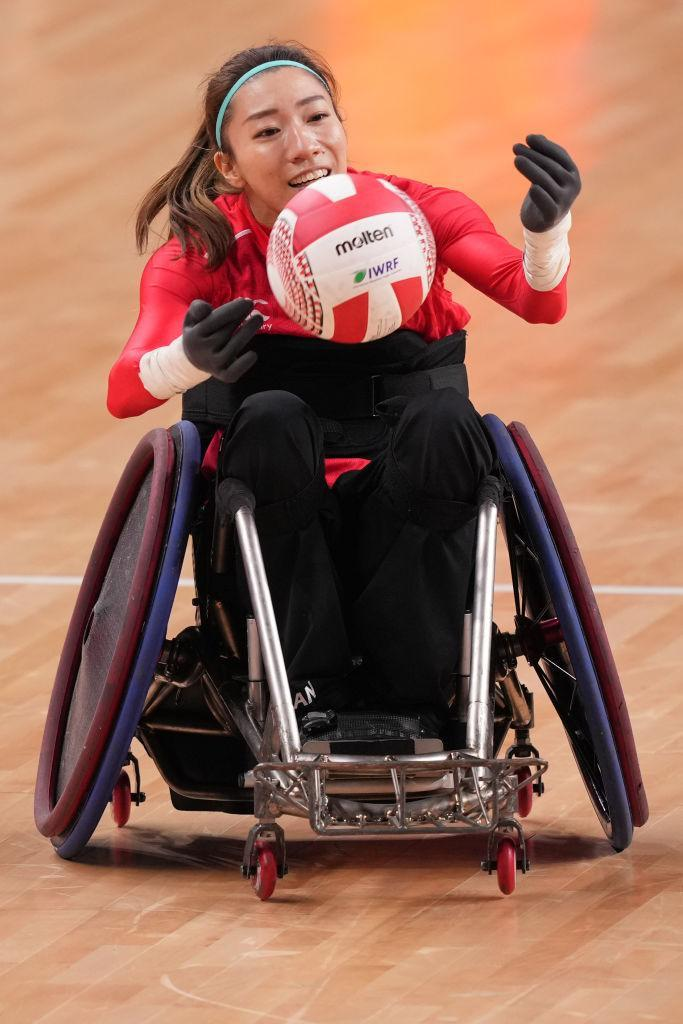 Kurahashi Kae of Japan competing against Great Britain in the semifinal round of wheelchair rugby competition at the 2021 Tokyo Paralympics.
