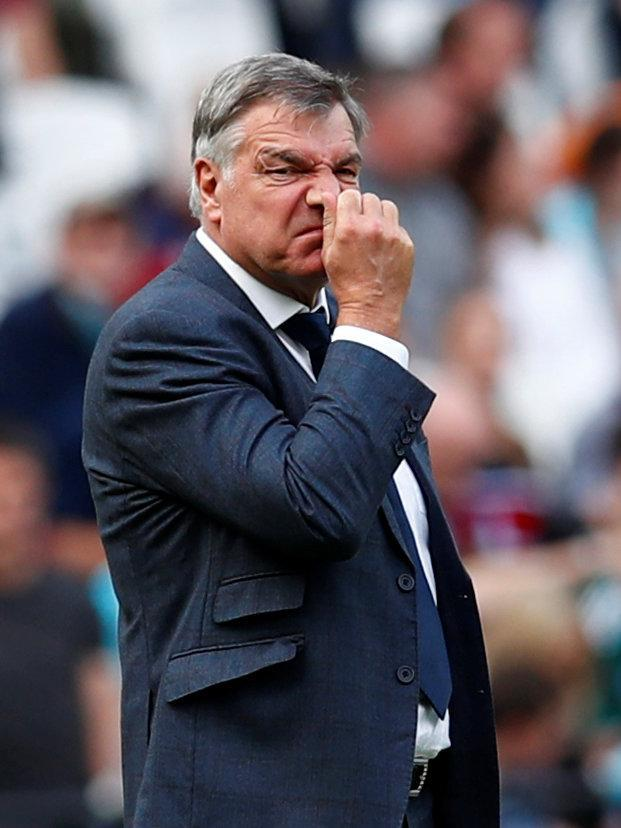 "Soccer Football - Premier League - West Ham United vs Everton - London Stadium, London, Britain - May 13, 2018 Everton manager Sam Allardyce reacts REUTERS/Eddie Keogh EDITORIAL USE ONLY. No use with unauthorized audio, video, data, fixture lists, club/league logos or ""live"" services. Online in-match use limited to 75 images, no video emulation. No use in betting, games or single club/league/player publications. Please contact your account representative for further details."