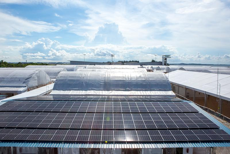 An aerial view of the rooftop solar panel array that is helping to power the CRF. (PHOTO: Dhany Osman / Yahoo News Singapore)