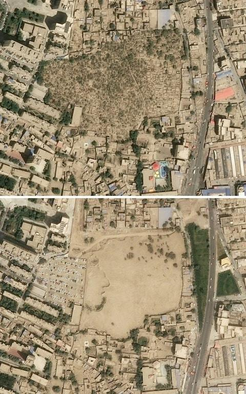 satellite images received on September 30, 2019 from CNES 2019, distributed by Airbus DS and produced by Earthrise shows a picture from April 24, 2018 (top) showing the Sulanim cemetery (C) in Hotan, Xinjiang province and the same view on August 6, 2019 (bottom)  - Credit: AFP