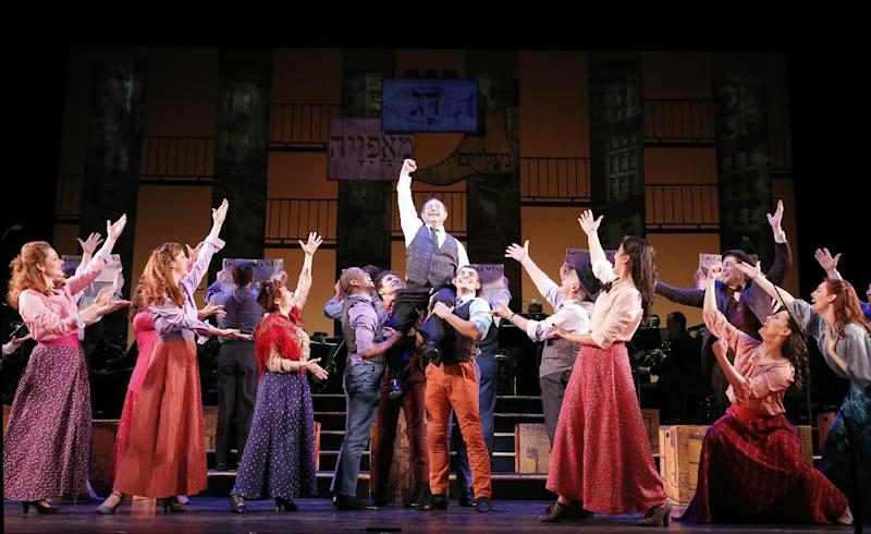 """This Jan. 29, 2013 photo released by New York City Center shows Danny Rutigliano, center, and the cast during a performance of """"Fiorello!"""" in the Encores! series at New York City Center in New York. (AP Photo/New York City Center, Joan Marcus)"""