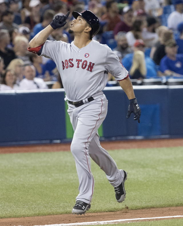 Boston Red Sox's Marco Hernandez heads home to score on his home run against the Toronto Blue Jays during the ninth inning of a baseball game Thursday, July 4, 2019, in Toronto. (Fred Thornhill/The Canadian Press via AP)