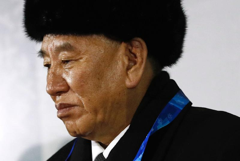 Kim Yong Chol, vice chairman of North Korea's ruling Workers' Party Central Committee, watches the closing ceremony of the Pyeongchang 2018 Winter Olympic Games