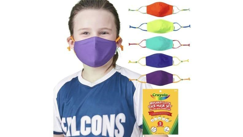 These kids face masks by Crayola are fun, colorful, and come with useful extras.
