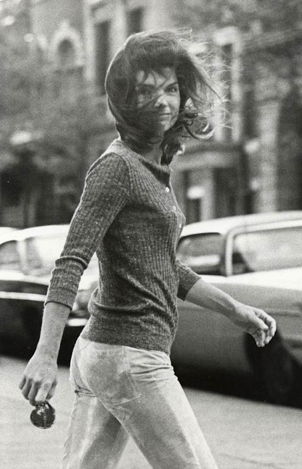 """<b>Jackie Onassis, 1971:</b> The former First Lady embodied '70s ease in a pair of tie-dye jeans and Henley sweater. With her pared-down approach to casual wear, it's no wonder Jackie O was originally approached to helm the designer denim line that later became Gloria Vanderbilt jeans.   <b><a href="""" http://www.instyle.com/instyle/package/general/photos/0,,20185823_20339436_20730450,00.html?xid=omg-flattering-jeans?yahoo=yes"""" target=""""new"""">Find Your Most Flattering Jeans</a></b> Ron Galella/<a href=""""http://www.wireimage.com"""" target=""""new"""">WireImage.com</a> - 1971"""