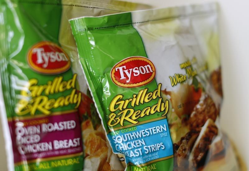 Tyson food meat products are shown in this photo illustration in Encinitas