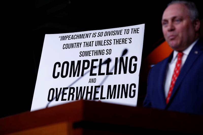 House Minority Whip Steve Scalise, R-La., delivers remarks during an impeachment press conference on Capitol Hill, Dec. 3. (Tom Brenner/Reuters)