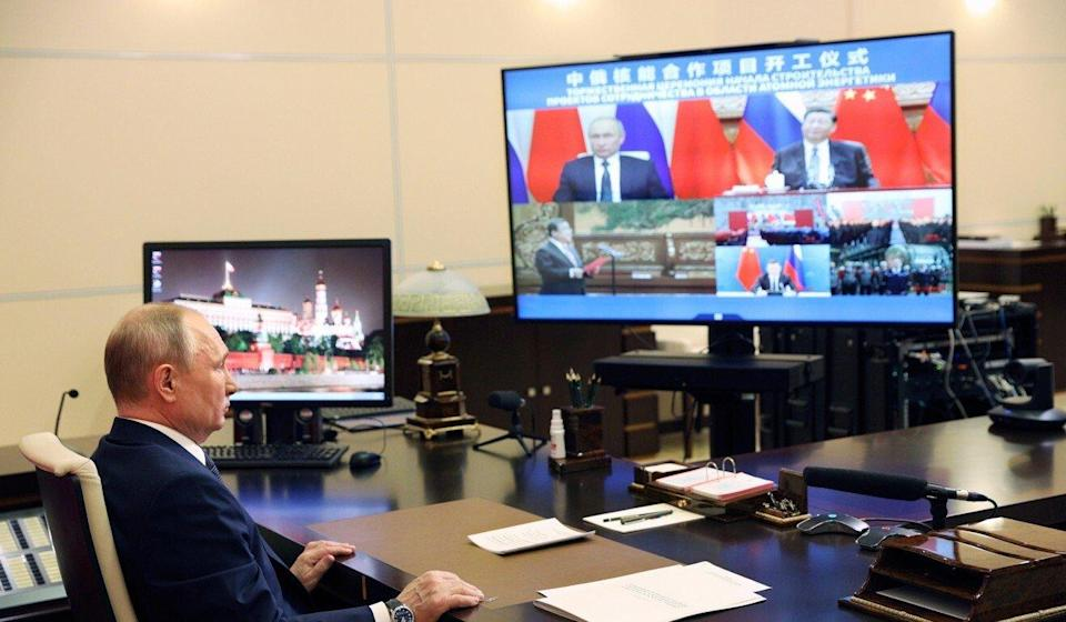 Russian President Vladimir Putin takes part in the ceremony via video link on Wednesday. Photo: AP