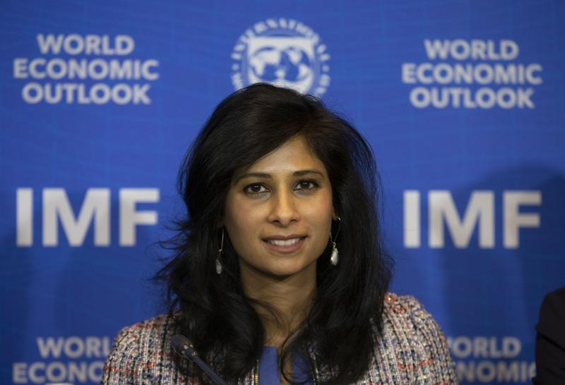International Monetary Fund Chief Economist and Director of the Research Department Gita Gopinath leads a presentation of the IMF World Economic Outlook Update, in Santiago, Chile, Tuesday, July 23, 2019. (AP Photo/Esteban Felix)
