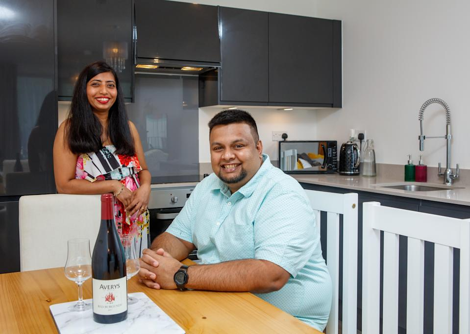 Royston and Stephanie Rodrigues used Help to Buy and settled on a new flat at  Barratt's redevelopment of the 30-acre former Nestlé chocolate factory site in west  London. Their home has a parking space, plus a terrace that faces lush gardens (Handout)