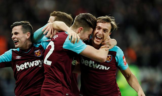 Soccer Football - FA Cup Third Round Replay - West Ham United vs Shrewsbury Town - London Stadium, London, Britain - January 16, 2018 West Ham United's Reece Burke celebrates scoring their first goal with Mark Noble and team mates Action Images via Reuters/John Sibley