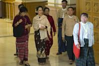Chairperson of the National League for Democracy (NLD) Aung San Suu Kyi attends the last day of the Union parliament regular session in Naypyidaw on January 29, 2016