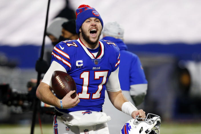 Buffalo Bills quarterback Josh Allen (17) celebrates after an NFL divisional round football game against the Baltimore Ravens Saturday, Jan. 16, 2021, in Orchard Park, N.Y. The Bills won 17-3. (AP Photo/Jeffrey T. Barnes)