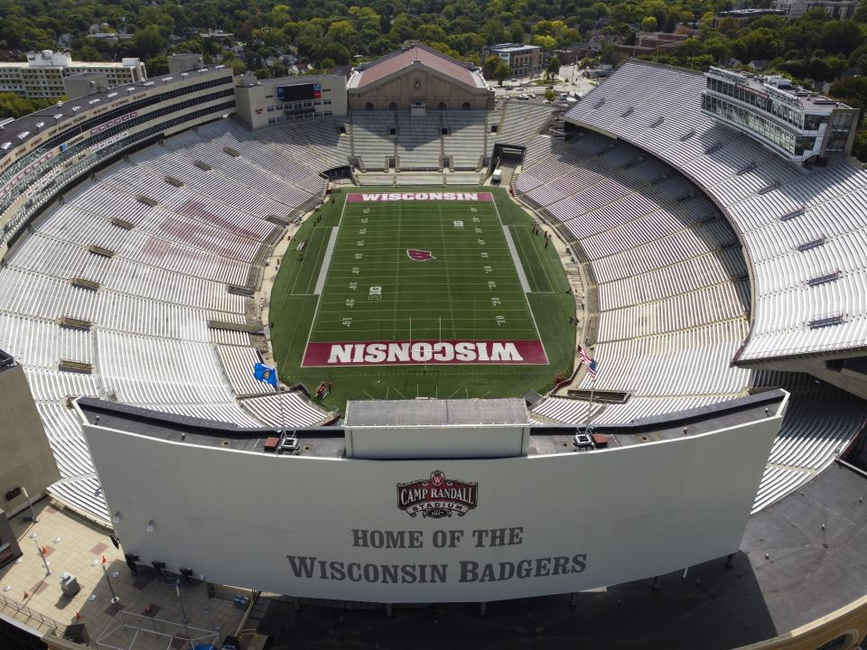 Camp Randall Stadium, home of the Wisconsin Badgers, is seen Thursday, Sept. 17, 2020, in Madison, Wis. Less than five weeks after pushing NCAA college football and other fall sports to spring in the name of player safety during the pandemic, the conference changed course Wednesday, Sept. 16, 2020, and said it plans to begin its season the weekend of Oct. 23-24. (AP Photo/Morry Gash)