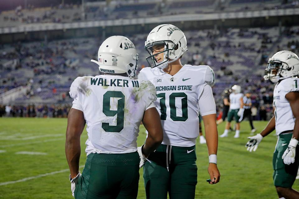Michigan State Spartans running back Kenneth Walker III (9) and quarterback Payton Thorne (10) react after a play against the Northwestern Wildcats during the fourth quarter at Ryan Field on Friday Sept. 3, 2021.